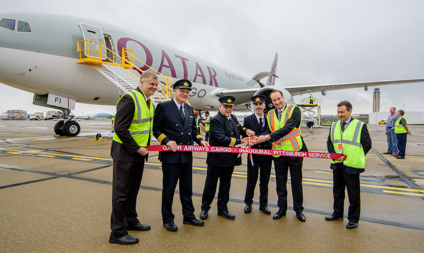 Qatar Cargo's newest B777 touches down in Pittsburgh