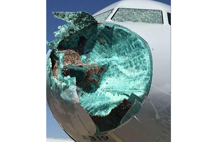 American Airlines A319 sustains major damage in severe hail storm