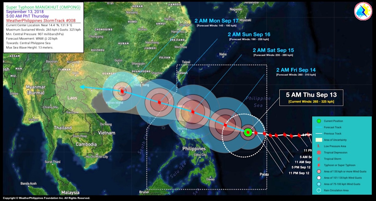 Super Typhoon Mangkhut tracking